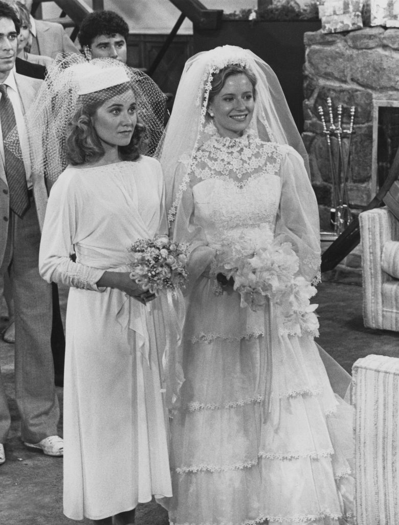 Maureen McCormick (left) as Marcia Brady and Eve Plumb as Jan Brady in a scene from the TV movie 'The Brady Girls Get Married'