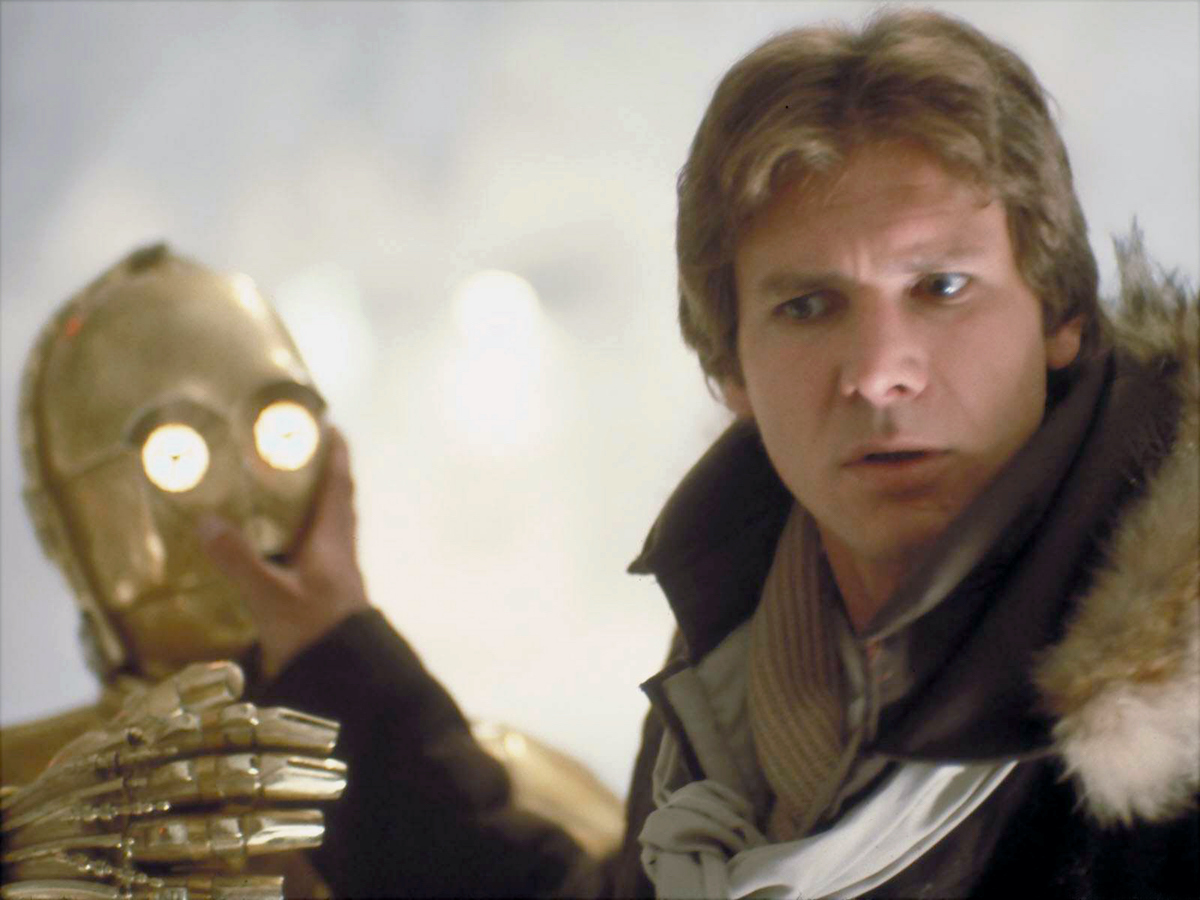 Anthony Daniels and Harrison Ford in 'Star Wars: The Empire Strikes Back'