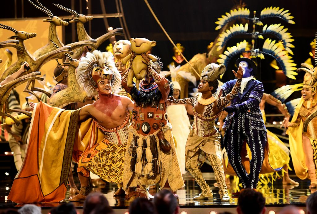 """The cast of """"The Lion King"""" perform on stage during The Olivier Awards 2019 with Mastercard at the Royal Albert Hall on April 07, 2019 in London, England   Jeff Spicer/Getty Images"""