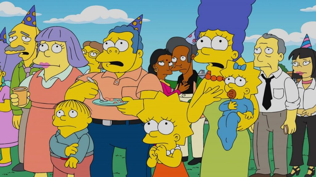 Lisa, Marge and Maggie Simpsons in the town of Springfield