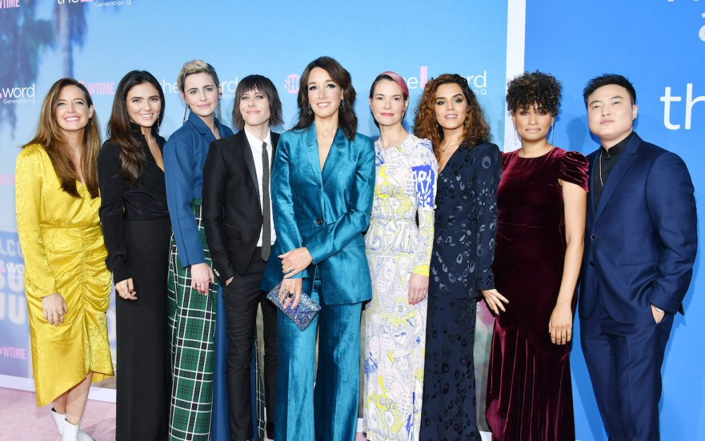 The cast of 'The L Word: Generation Q' posing together on the red carpet at an event
