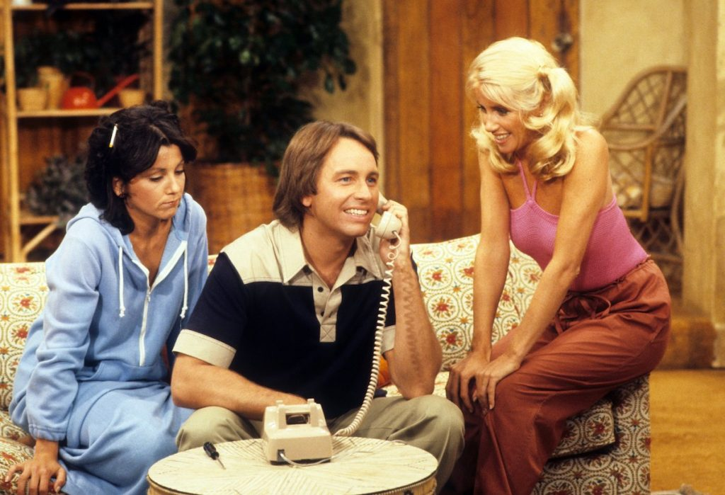 Joyce DeWitt as Janet, John Ritter as Jack, and Suzanne Somers as Chrissy Snow on 'Three's Company.'