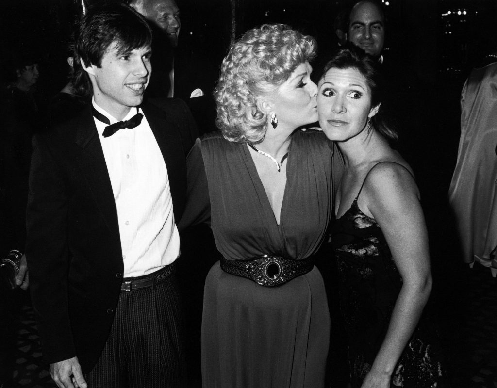 Debbie Reynolds [& Family];Carrie Fisher;Todd Fisher Entertainer Debbie Reynolds (C) w. children Todd (L) and Carrie Fisher (R) at the Thalians Ball.