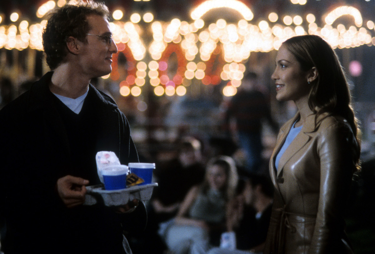 Matthew McConaughey and Jennifer Lopez in a scene from the film 'The Wedding Planner', 2001.