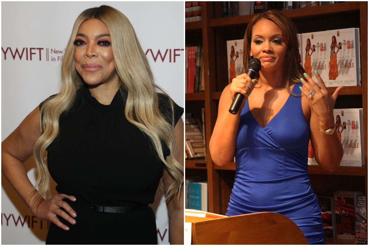 """NEW YORK, NEW YORK - DECEMBER 10: Wendy Williams attends the 2019 40th Annual NYWIFT Muse Awards at New York Hilton Midtown on December 10, 2019 in New York City. /CORAL GABLES, FL - JUNE 18: Evelyn Lozada signs copies of """"The Wives Association"""" at Books and Books on June 18, 2012 in Coral Gables, Florida."""