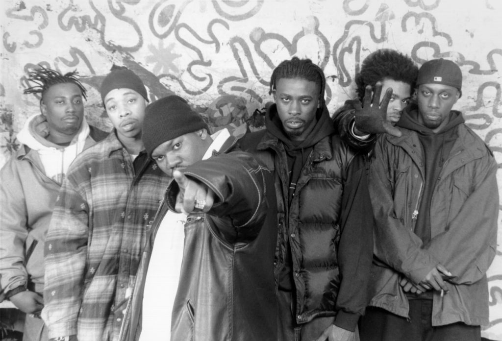 Members of the Wu-Tang Clan pose for a photo