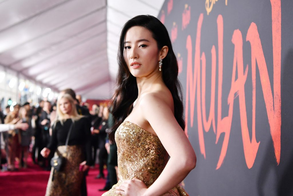 """Yifei Liu attends the premiere of Disney's """"Mulan"""" on March 09, 2020 in Hollywood, California 