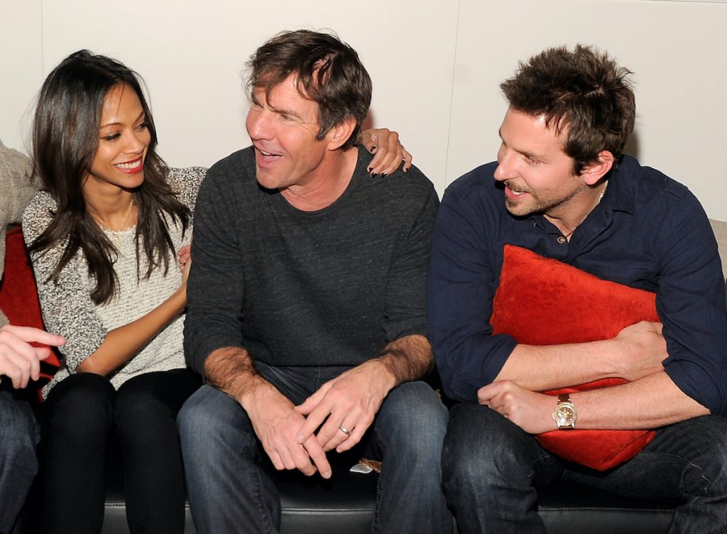 Zoe Saldana and Bradley Cooper with Dennis Quaid (center)