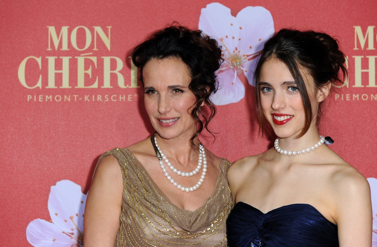 Andie MacDowell and Margaret Qualley attend the 'Mon Cheri Barbara Day' Charity event at on December 3, 2011, in Munich, Germany.