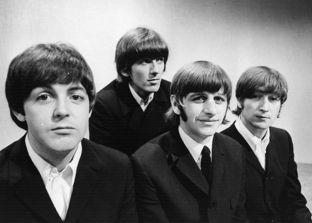 The Beatles with a white background