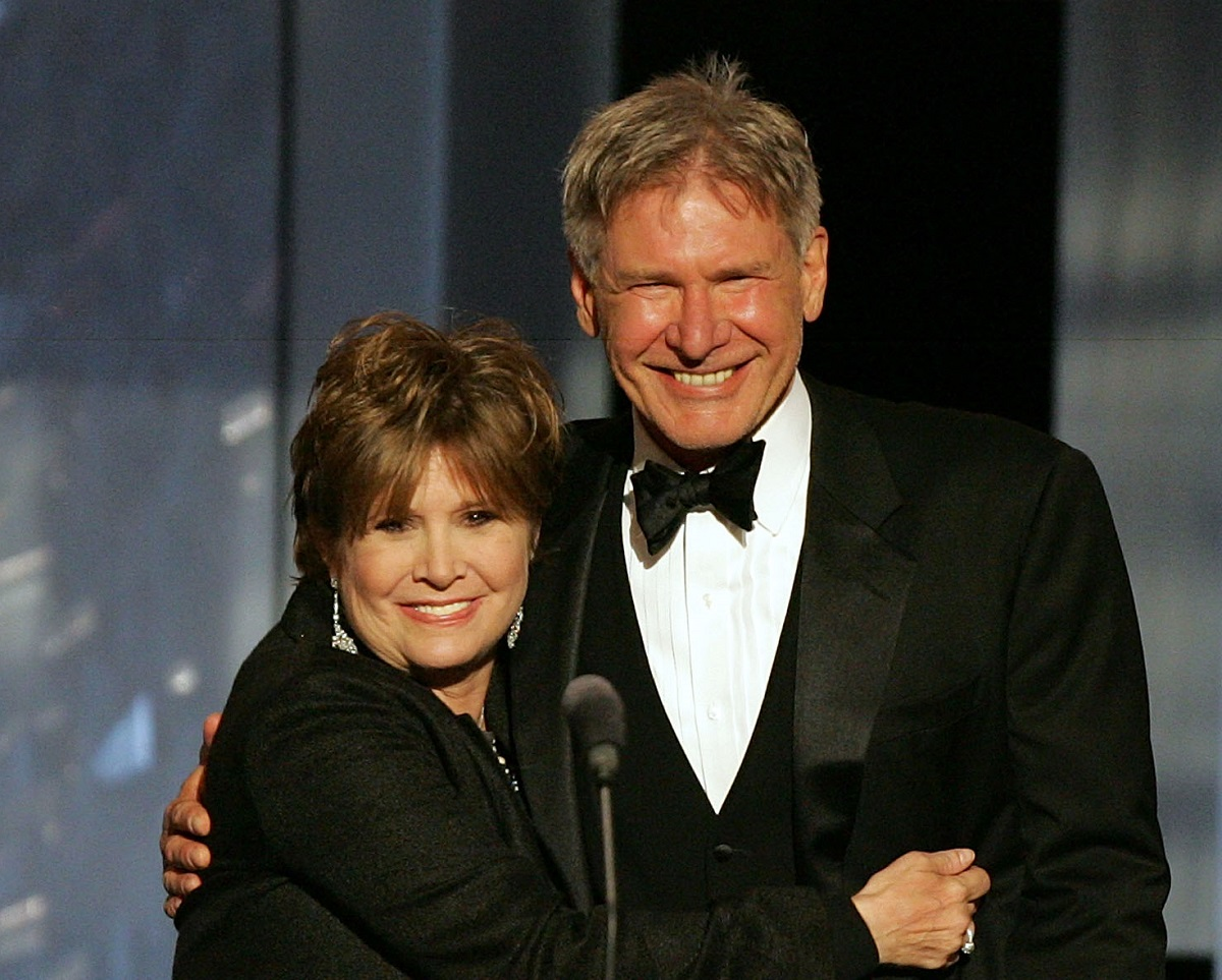 Carrie Fisher and Harrison Ford on June 9, 2005 in Hollywood, California.