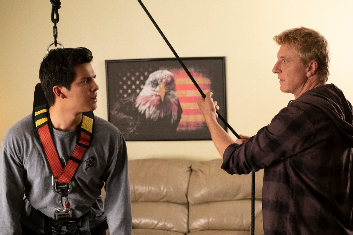'Cobra Kai' Season 3 with Xolo Mariduena as Miguel Diaz and William Zabka as Johnny Lawrence