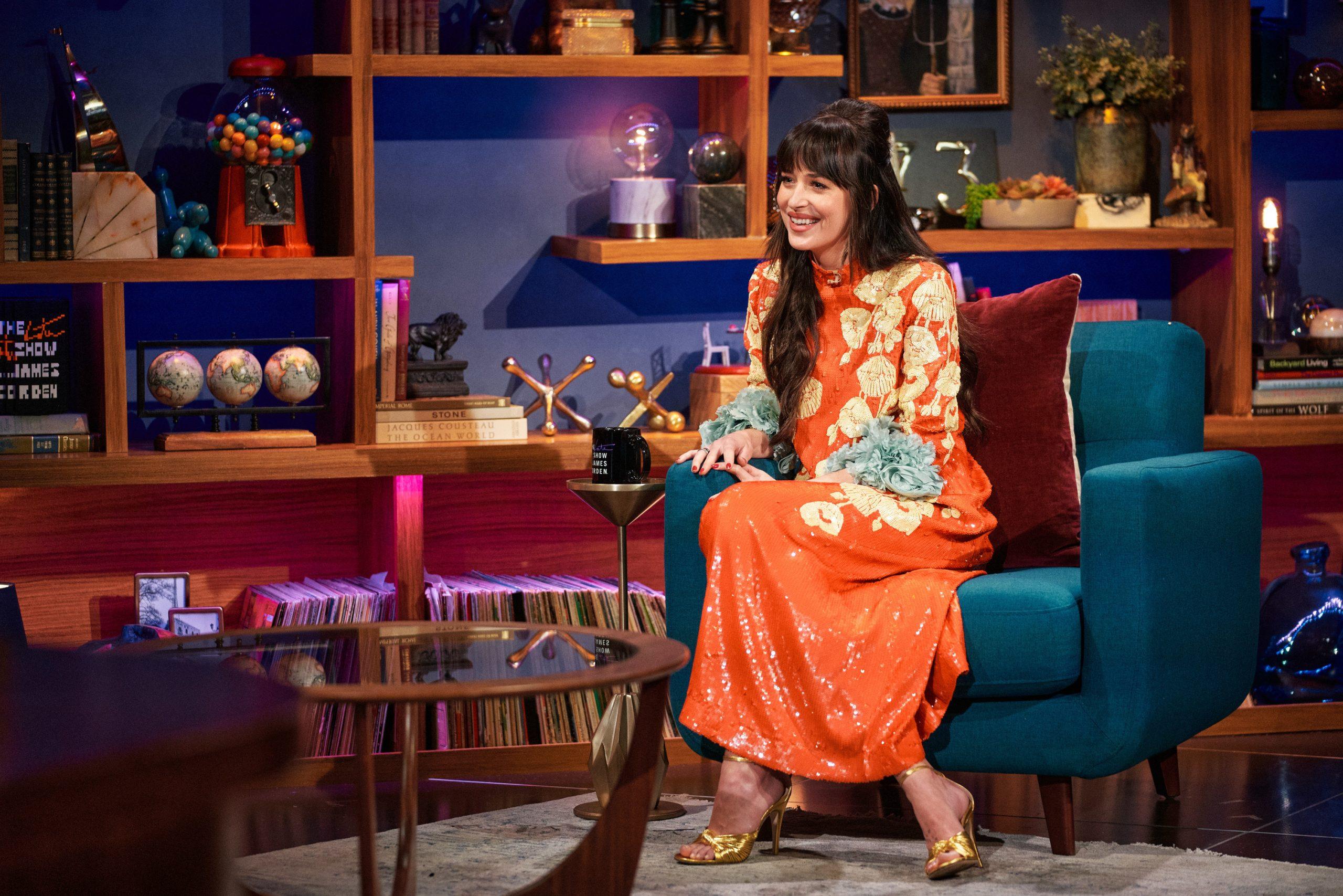 Dakota Johnson on 'The Late Late Show with James Corden' on Jan. 20, 2021.