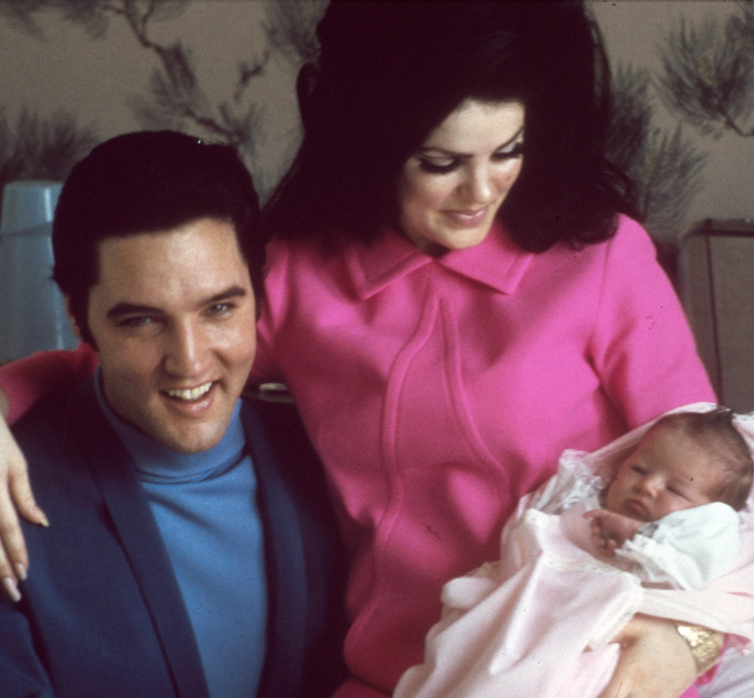 Elvis Presley with his wife Priscilla Beaulieu Presley and their 4 day old daughter Lisa Marie Presley