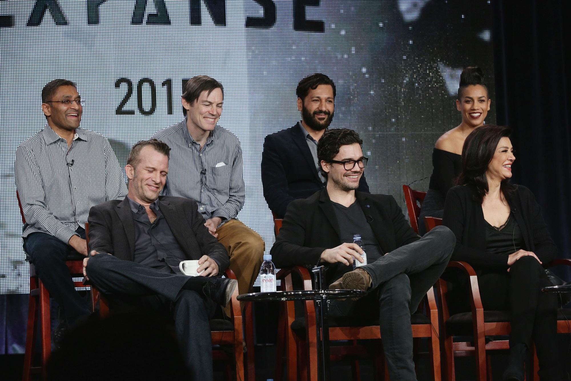 Naren Shankar, Mark Fergus, Cas Anvar, Dominique Tipper. Thomas Jane, Steven Strait, and Shohreh Aghdashloo of The Expanse