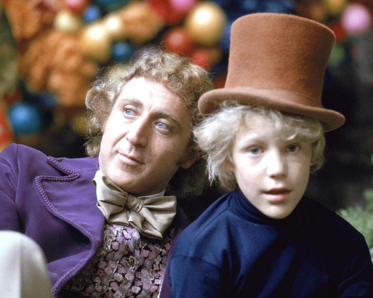 Gene Wilder as Willy Wonka and Peter Ostrum as Charlie Bucket on the set of the fantasy film Willy Wonka & the Chocolate Factory