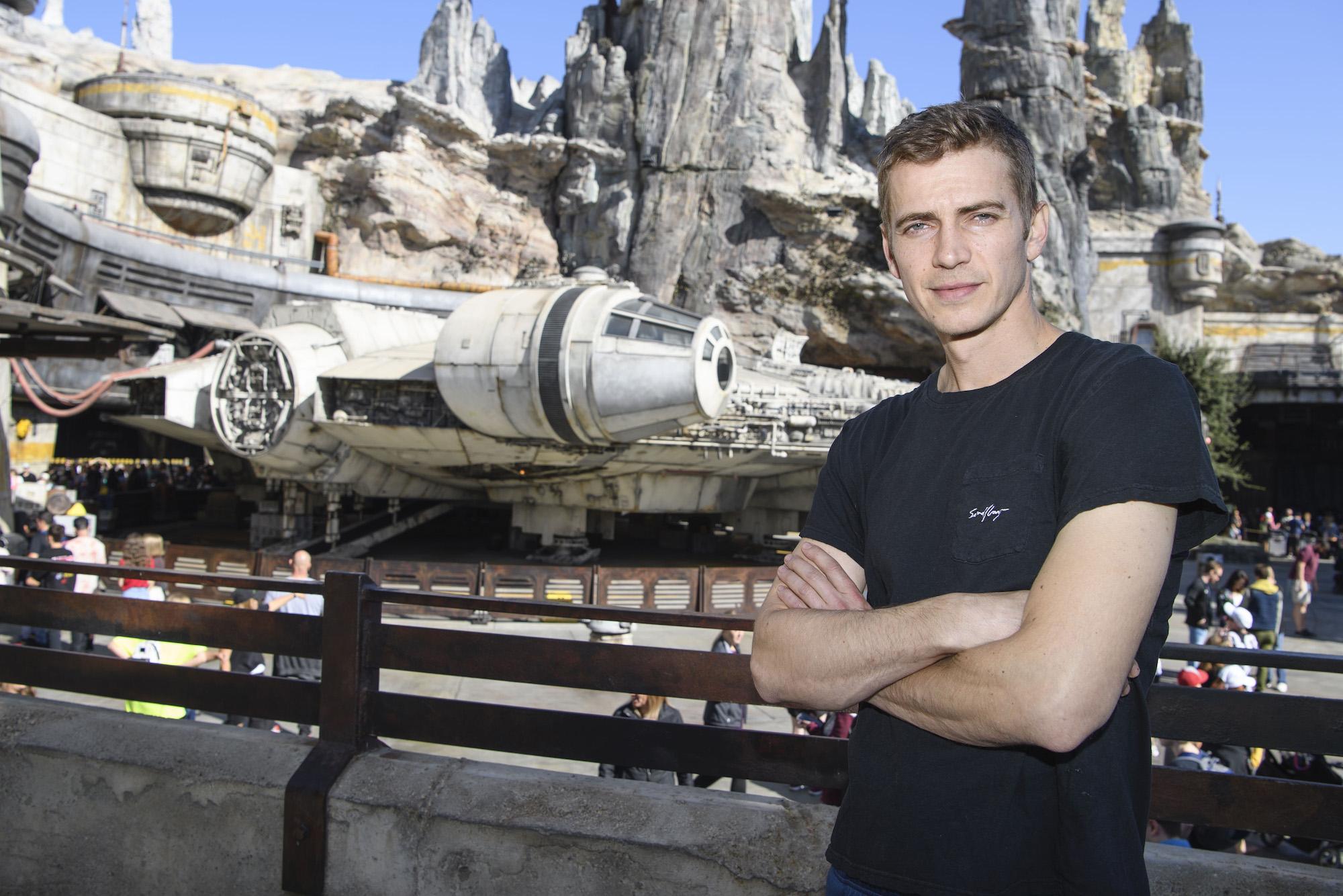 Hayden Christensen in front of the Millennium Falcon: Smugglers Run at Star Wars: Galaxy's Edge at Disneyland Park on Oct. 29, 2019