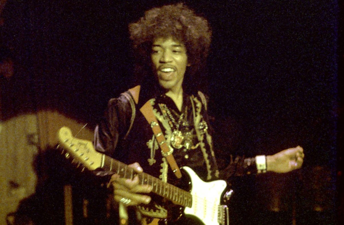 Jimi Hendrix on stage in 1968