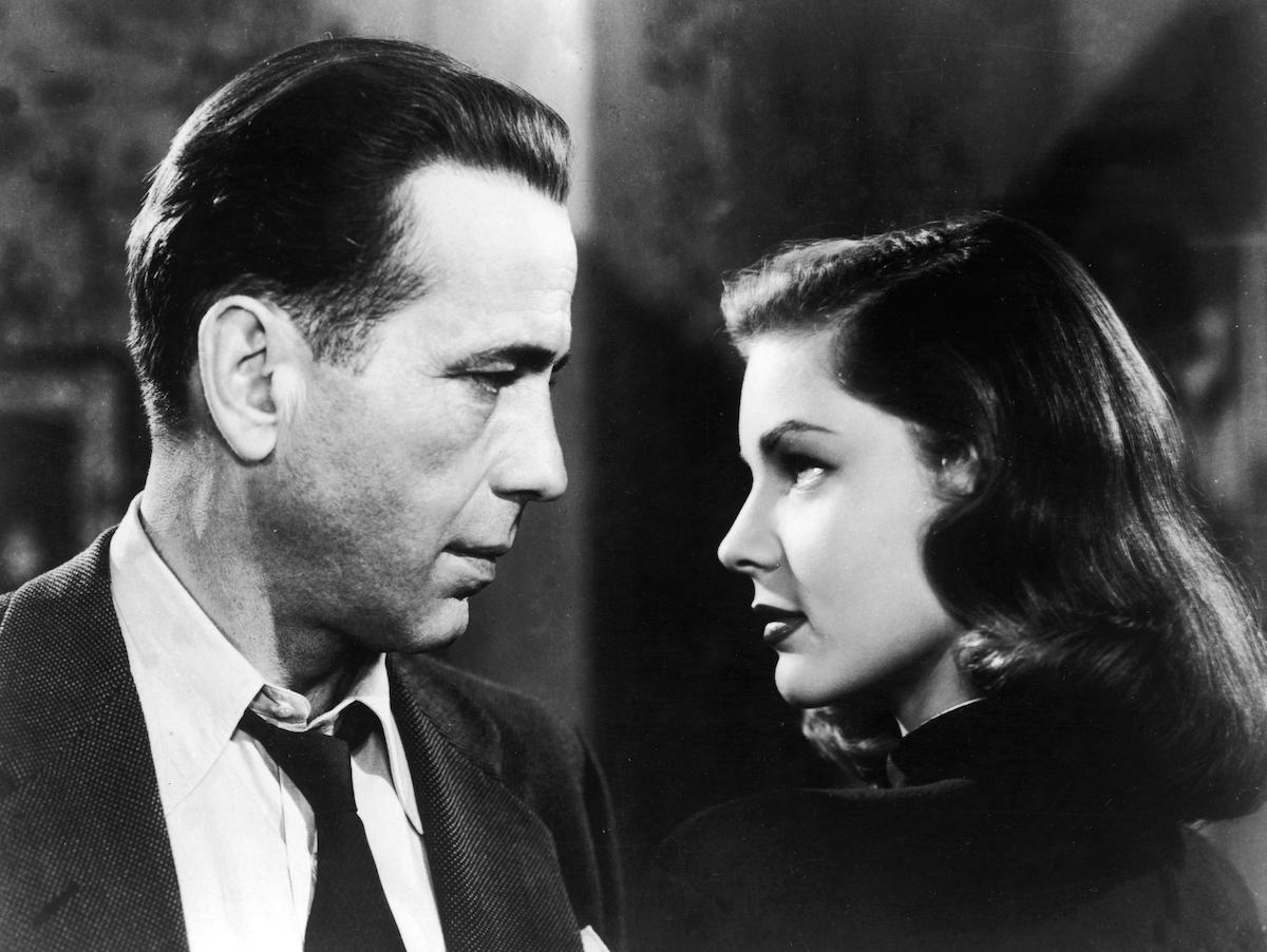 Humphrey Bogart and Lauren Bacall in profile