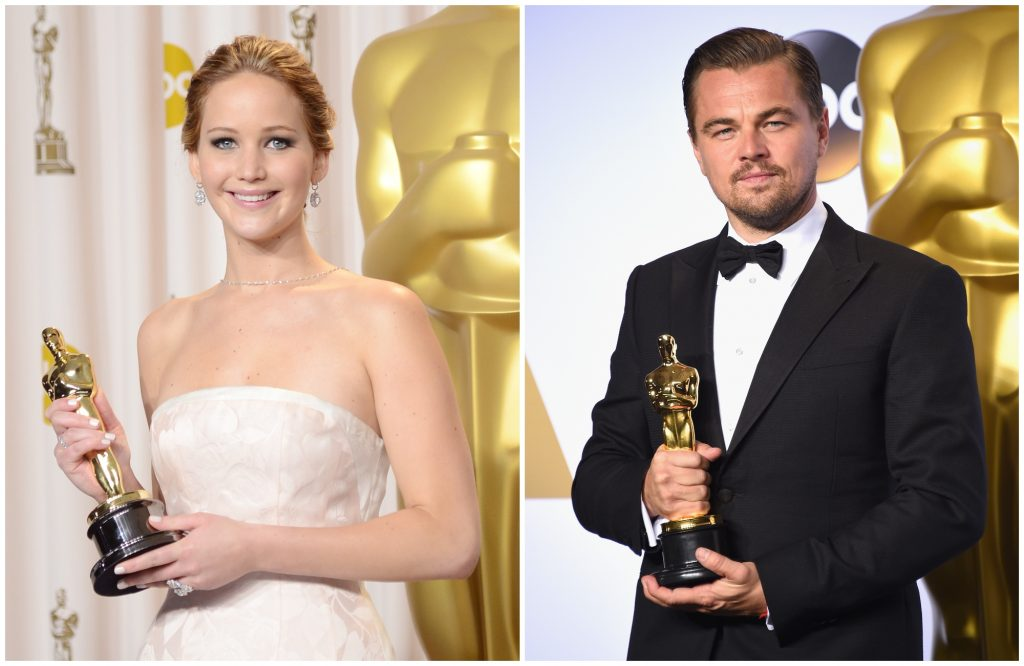 composite image of Jennifer Lawrence and Leonardo DiCaprio with their Oscars
