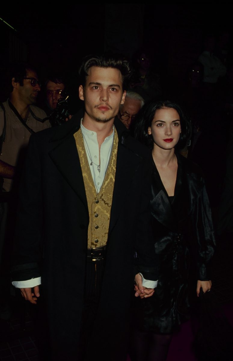 Winona Ryder with her boyfriend, actor Johnny Depp, circa 1990