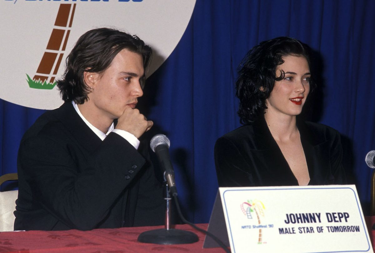 Johnny Depp and Winona Ryder attend the 1990 NATO/ShoWest Convention
