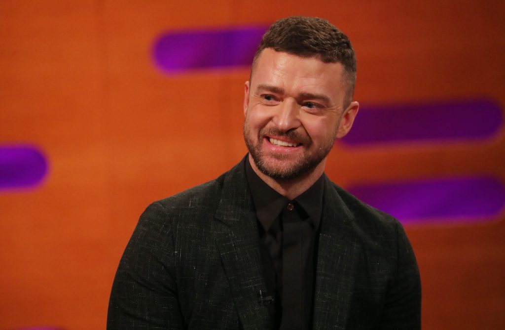 Palmer star Justin Timberlake during the filming for the Graham Norton Show