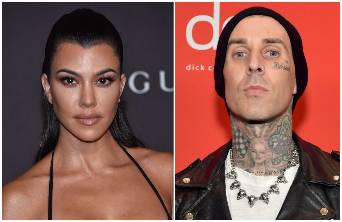 composite image of Kourtney Kardashian and Travis Barker