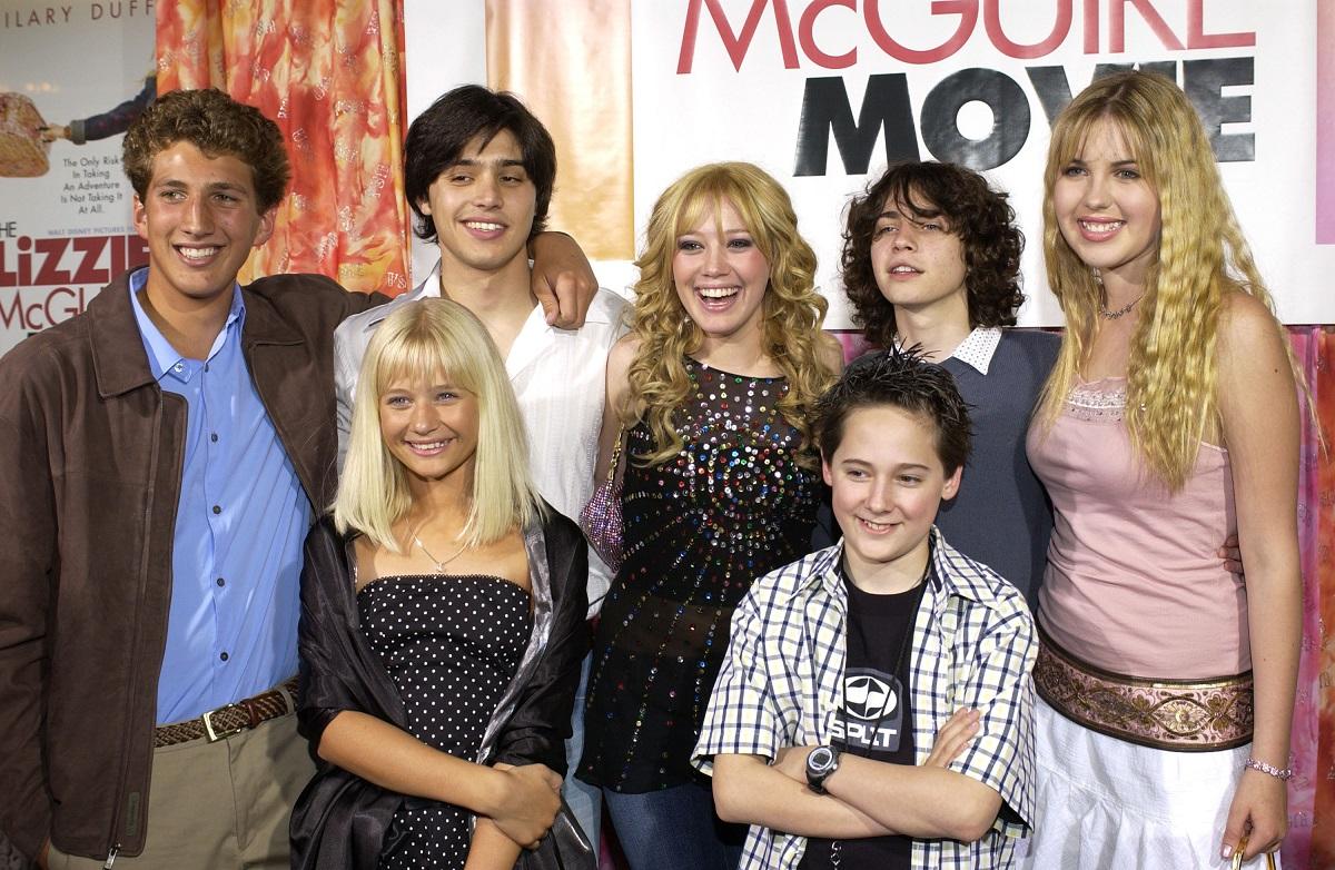 (L to R) Clayton Snyder, Yani Gellman, Carly Schroeder, Hilary Duff, Jake Thomas, Adam Lamberg, Ashlie Brillaut at 'The Lizzie McGuire Movie' premiere