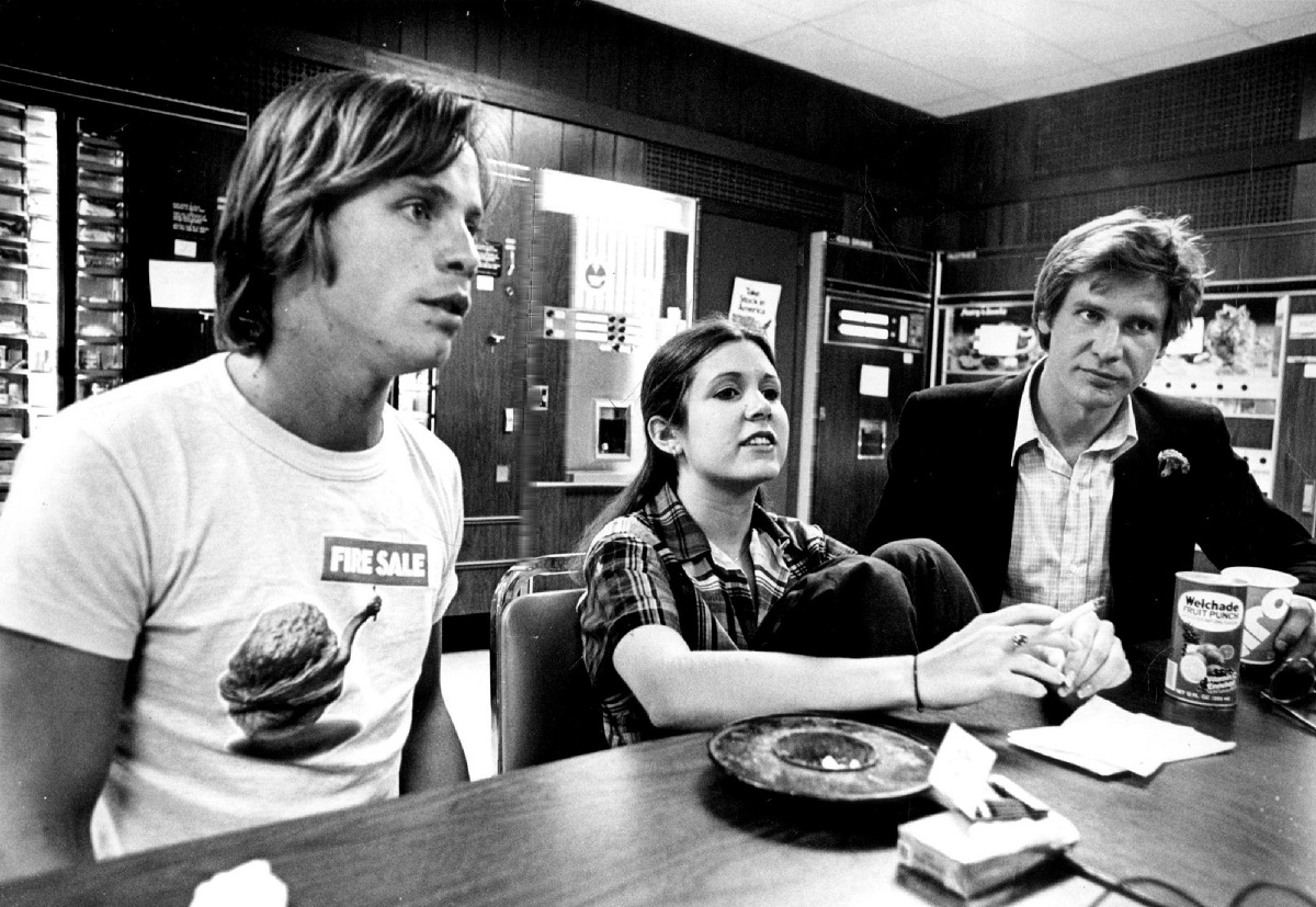 (L-R): Mark Hamill, Carrie Fisher, and Harrison Ford
