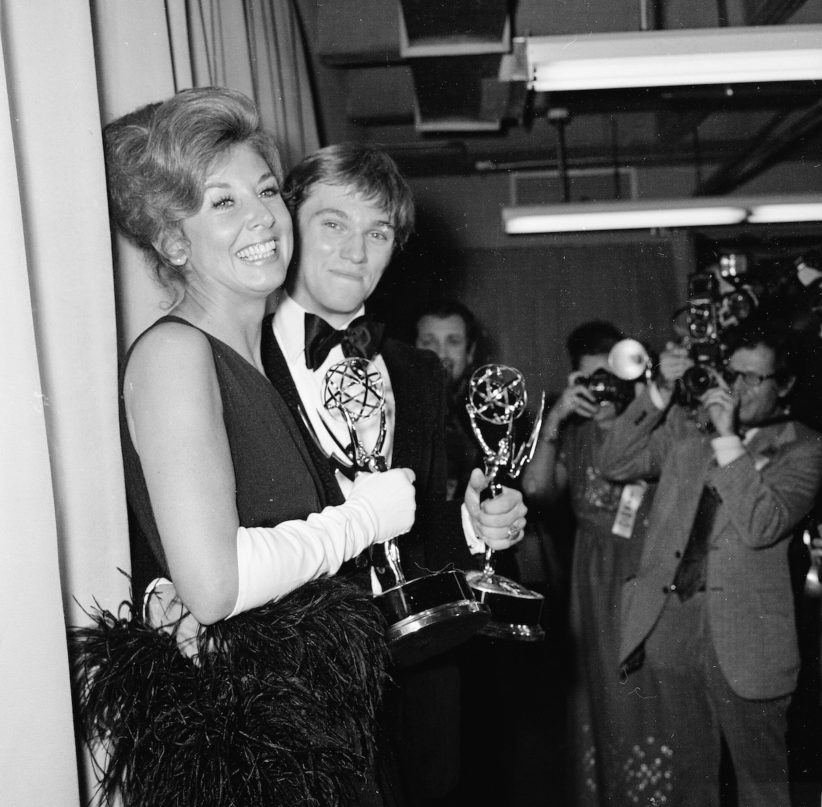 Michael Learned and Richard Thomas with their Emmy awards