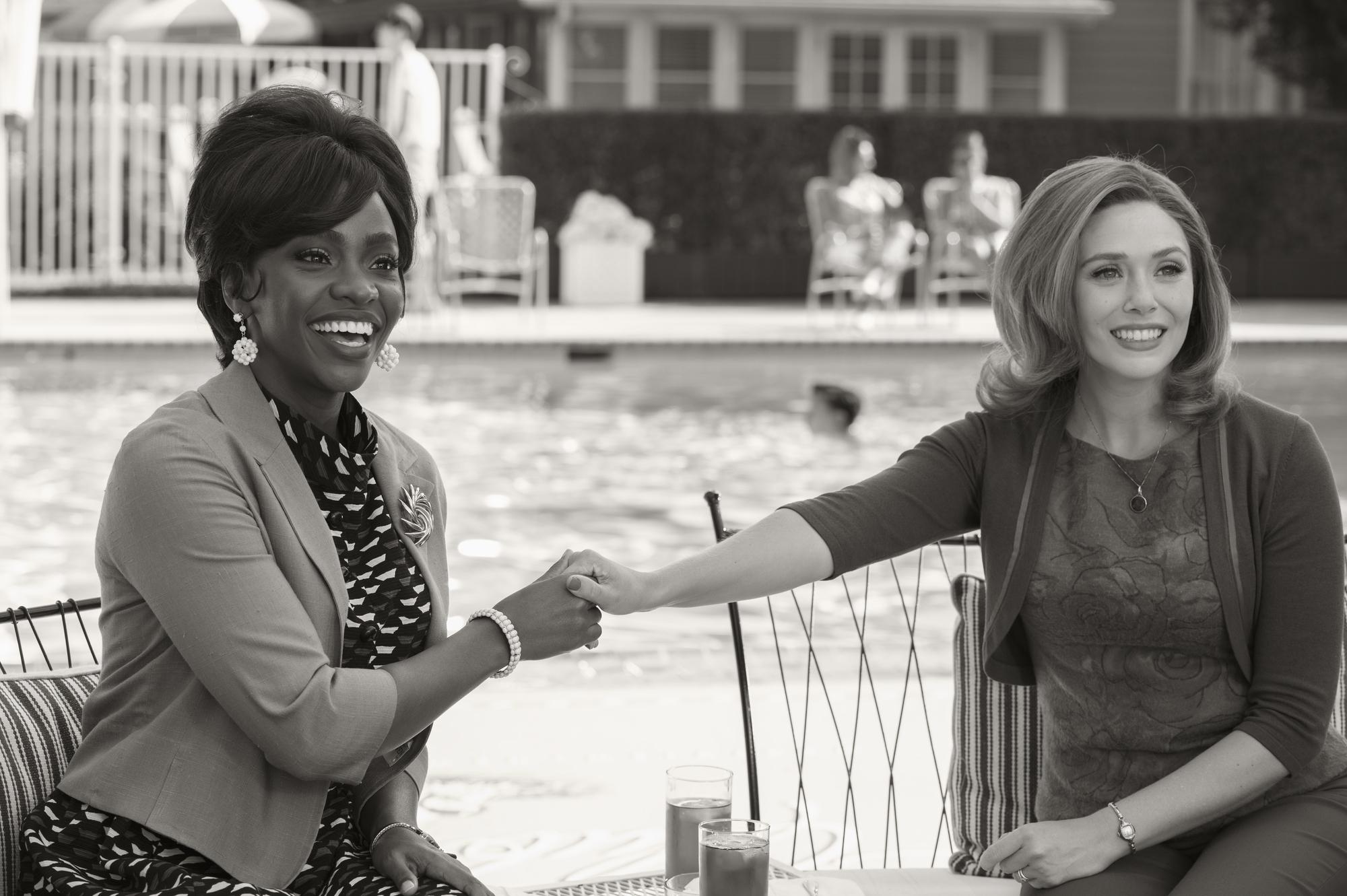 Teyonah Parris as Monica Rambeau/Geraldine and Elizabeth Olsen as Wanda in 'WandaVision'