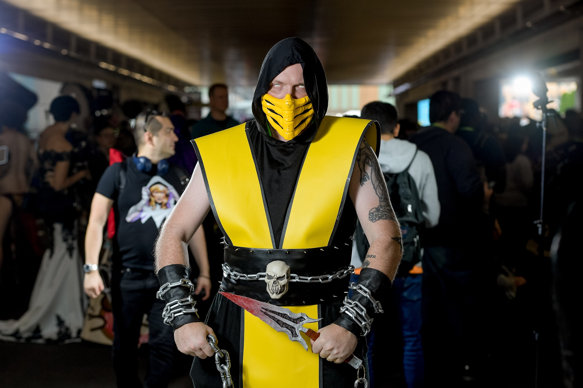 A fan cosplays as Scorpion from Mortal Kombat during the 2018 New York Comic Con