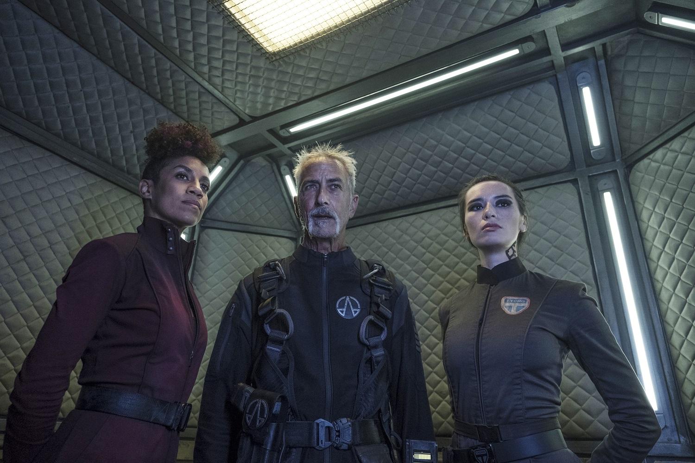 Dominique Tipper as Naomi Nagata, David Strathairn as Klaes Ashford, Cara Gee as Camina Drummer on The Expanse
