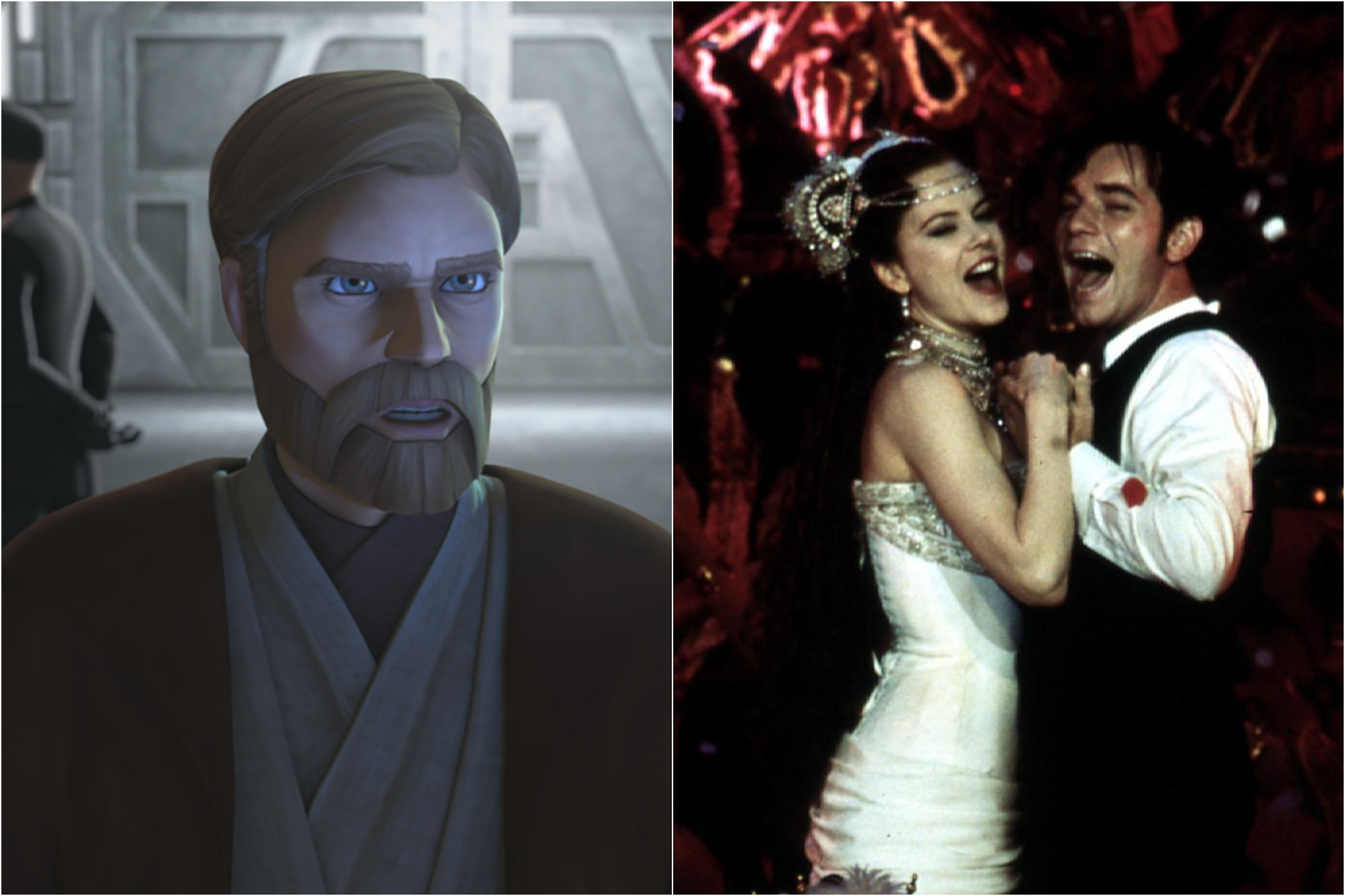 Obi-Wan Kenobi in Season 7 of 'Star Wars: The Clone Wars' / Nicole Kidman as Satine and Ewan McGregor as Christian in 'Moulin Rouge'