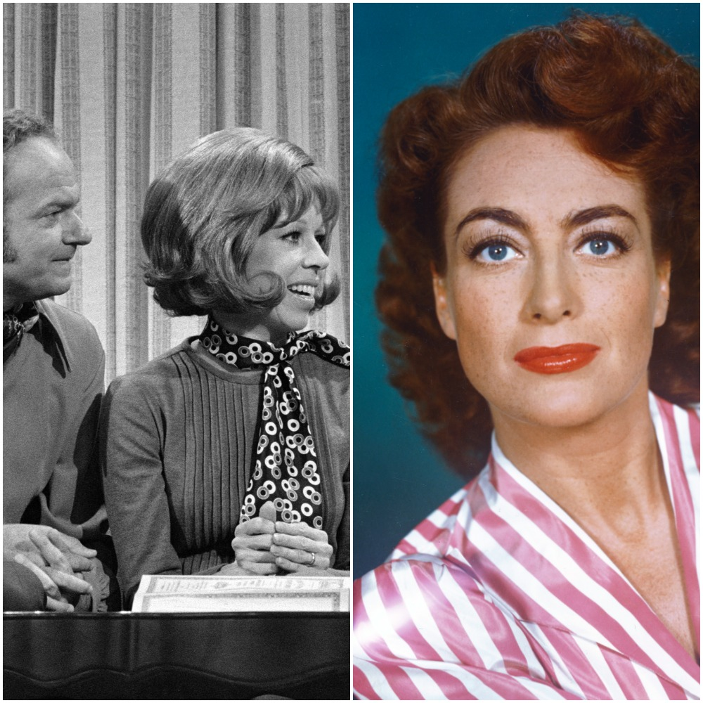 (L to R): Harvey Korman with Carol Burnett; and Joan Crawford