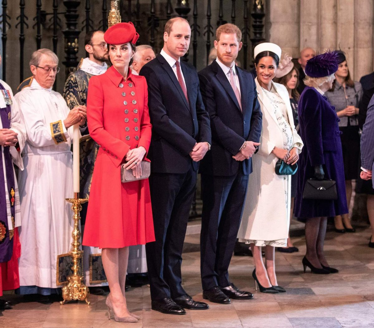 Kate Middleton, Prince William, Prince Harry, and Meghan Markle attend the Commonwealth Day service at Westminster Abbey in London on March 11, 2019