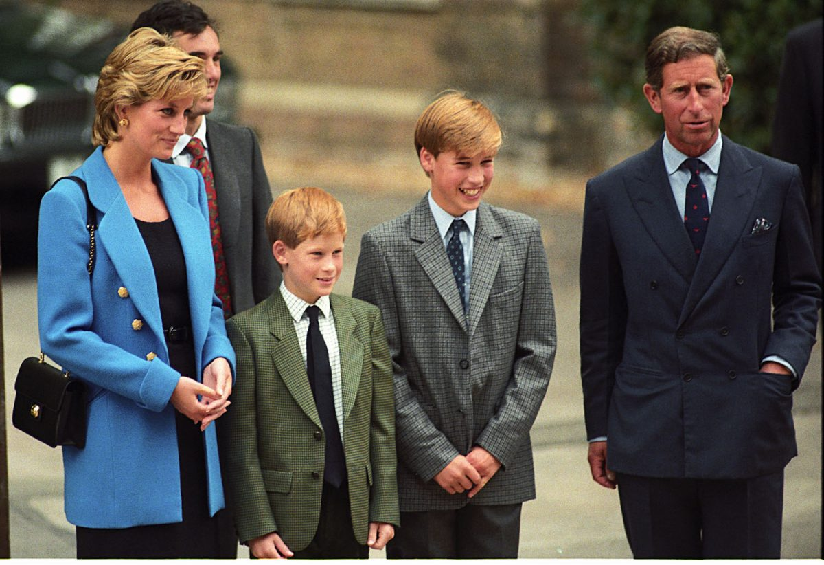 Princess Diana, Prince Harry, Prince William,  and Prince Charles at Prince William first day at Eton