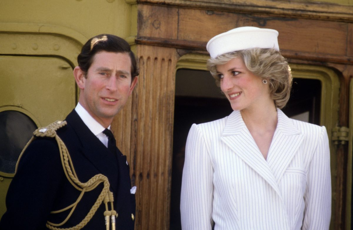 Diana Princess of Wales with Prince Charles on board a ship at the naval base in La Spezia