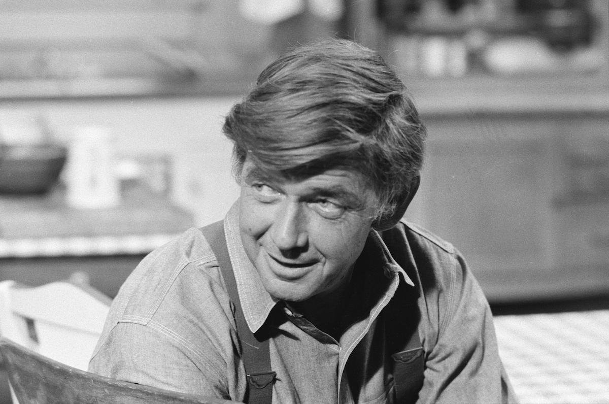 Black and white image of Ralph Waite as John Walton