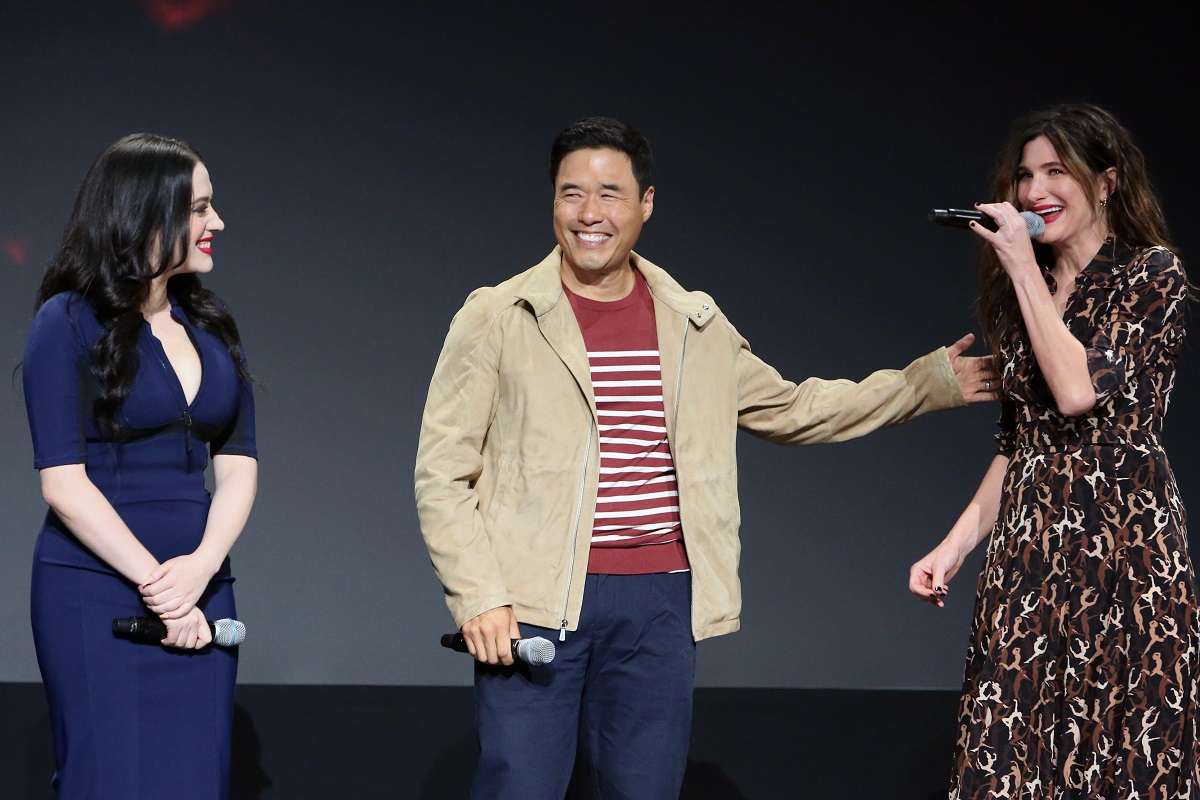 (L-R) Kat Dennings, Randall Park, and Kathryn Hahn of 'WandaVision' at Disney's D23 EXPO 2019 in Anaheim, Calif.