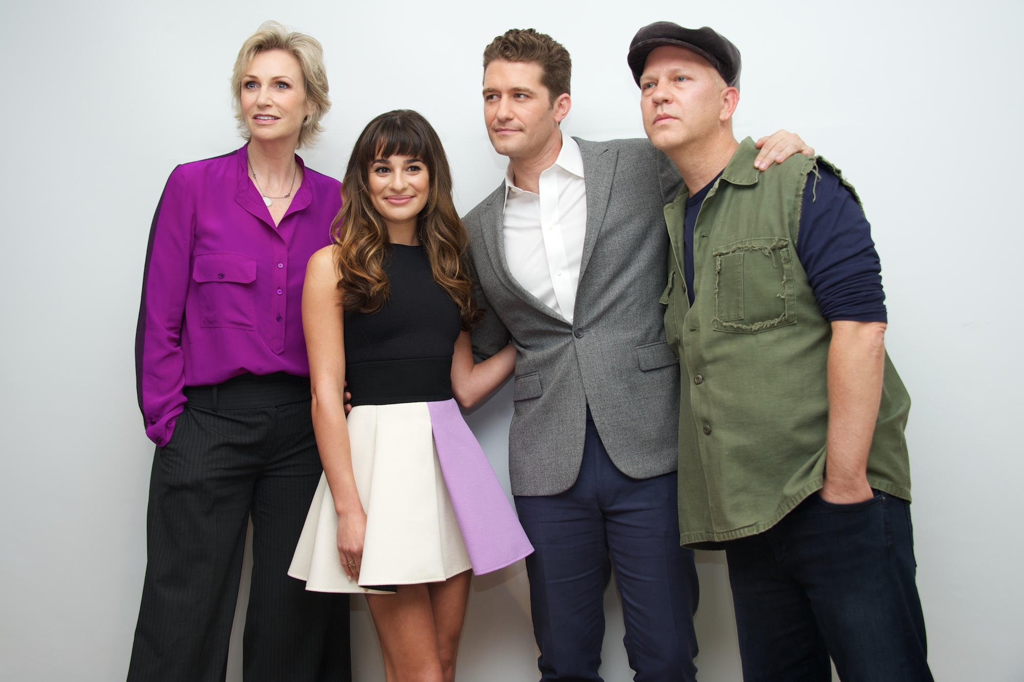"""Jane Lynch, Lea Michele, Matthew Morrison, and Ryan Murphy at the """"Glee"""" Press Conference on Oct. 8, 2013"""