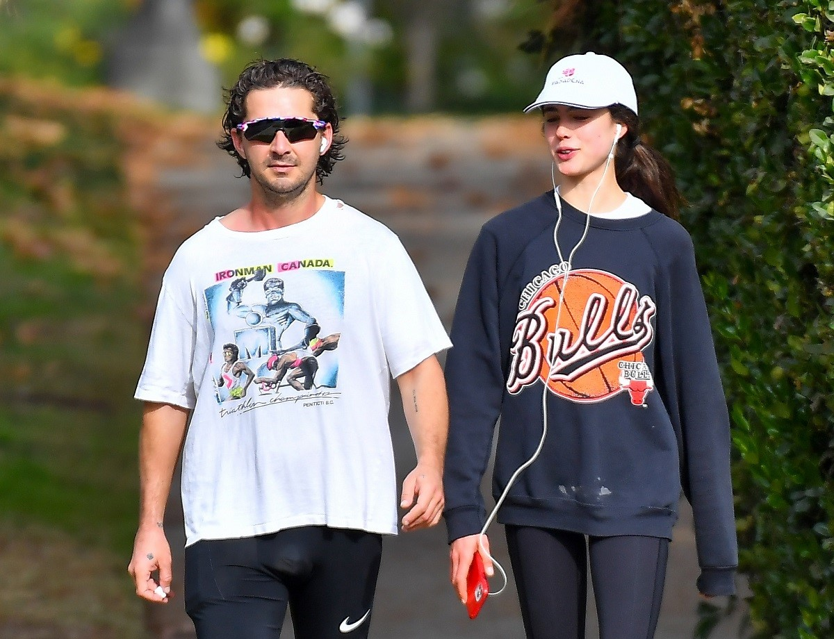 Shia LaBeouf and Margaret Qualley out for a jog on December 23, 2020, in Los Angeles, California.