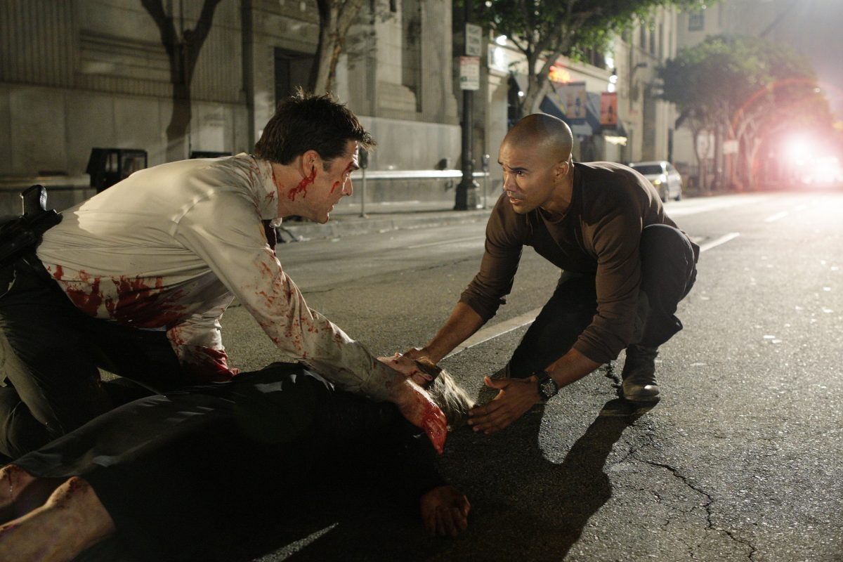 Thomas Gibson and Shemar Moore in Criminal Minds