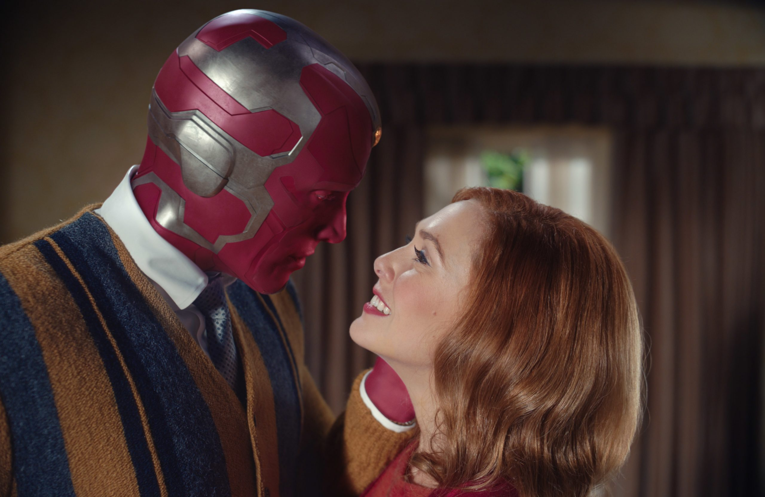 Paul Bettany as Vision and Elizabeth Olsen as Wanda Maximoff in 'WandaVision