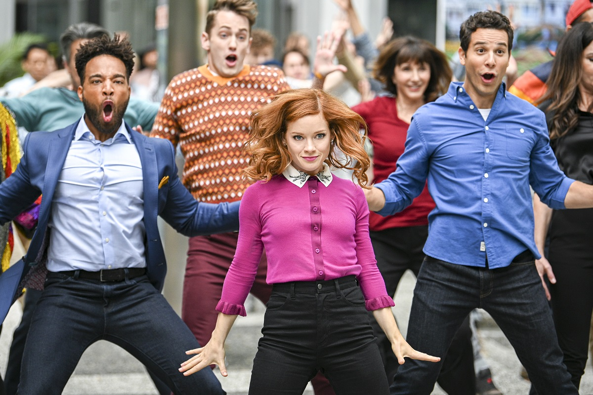 (L-R): John Clarence Stewart as Simon, Jane Levy as Zoey Clarke, and Skylar Astin as Max in 'Zoey's Extraordinary Playlist'