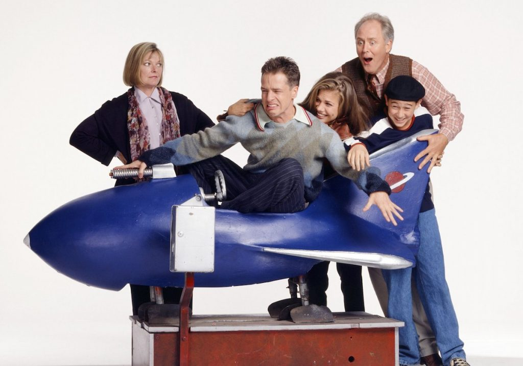 Pictured: (l-r) Jane Curtin as Dr. Mary Albright, French Stewart as Harry Solomon, Kristen Johnston as Sally Solomon, John Lithgow as Dr. Dick Solomon, Joseph Gordon-Levitt as Tommy Solomon