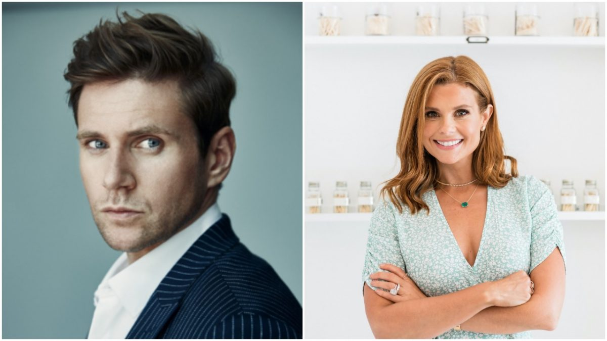 Side by side portraits of Allen Leech and JoAnna Garcia Swisher