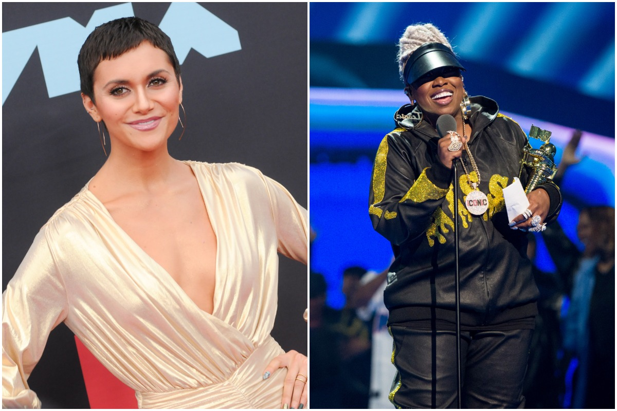 Alyson Stoner smiling in a gold dress./Missy Elliott smiling in a black and gold tracksuit.