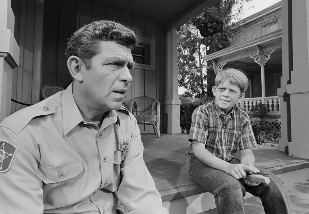 (L to R): Andy Griffith and Ron Howard in a scene from 'The Andy Griffith Show'